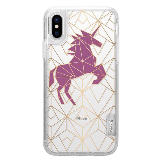 iPhone X Cases - Geometric Unicorn - Gold Luxe