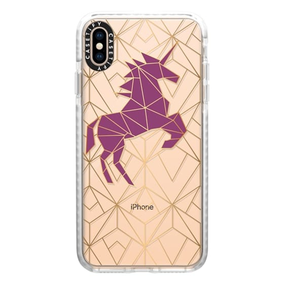 iPhone XS Max Cases - Geometric Unicorn - Gold Luxe