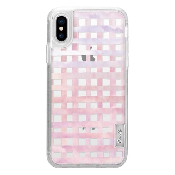 iPhone X Cases - Pink Gingham Watercolor