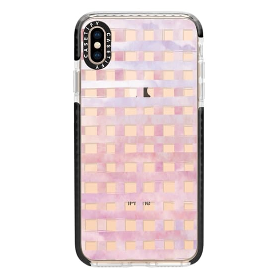 iPhone XS Max Cases - Pink Gingham Watercolor