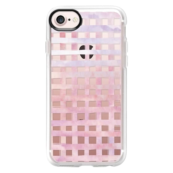 iPhone 7 Cases - Pink Gingham Watercolor