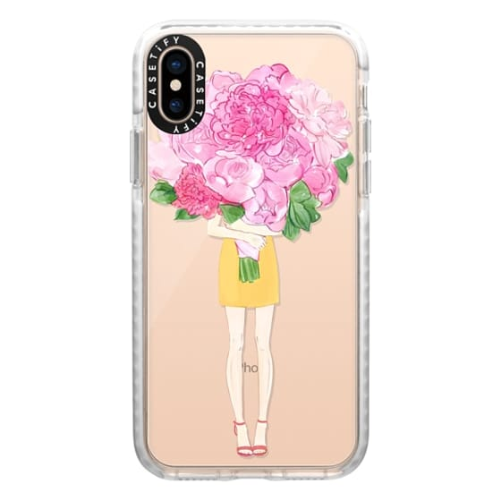 iPhone XS Cases - Girl and Peonies