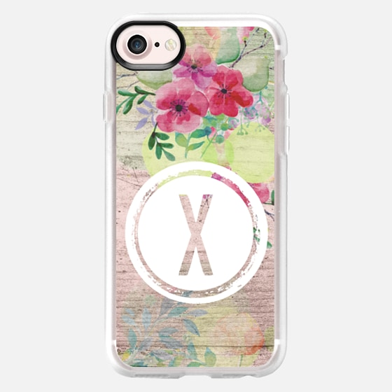 Faded Watercolor Floral on Wood Initial X - Classic Grip Case