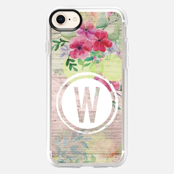 Faded Watercolor Floral on Wood Initial W - Snap Case