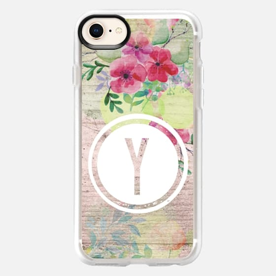 Faded Watercolor Floral on Wood Initial Y - Snap Case