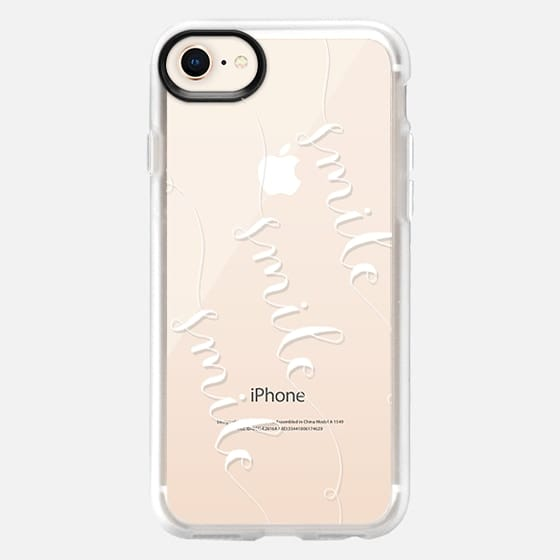 Smile x3 on Transparent in White - Snap Case