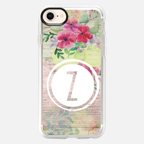 Initial Z Faded Watercolor Floral on Wood - Snap Case