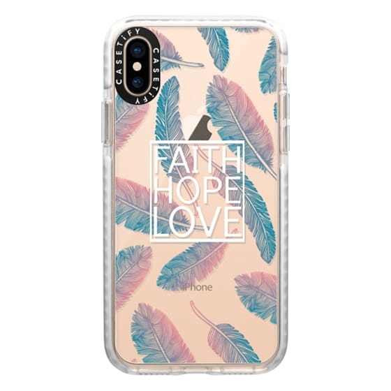 iPhone XS Cases - Faith Hope and Love in White and Feathers Scripture