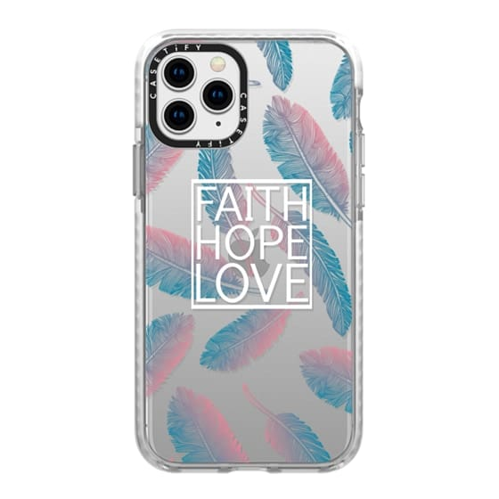 iPhone 11 Pro Cases - Faith Hope and Love in White and Feathers Scripture