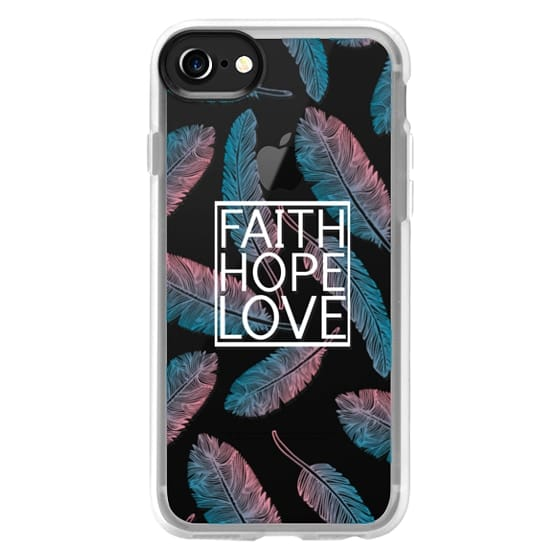 iPhone 7 Cases - Faith Hope and Love in White and Feathers Scripture