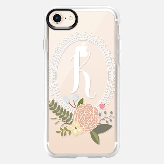 Initial -ly Yours Floral Monogram K - Snap Case