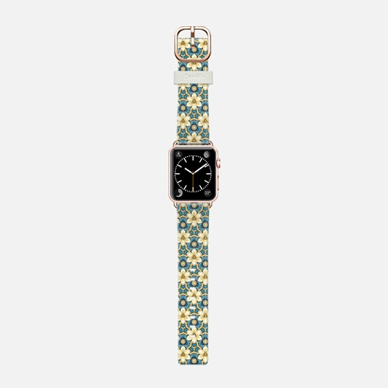 golden little flowers - Saffiano Leather Watch Band