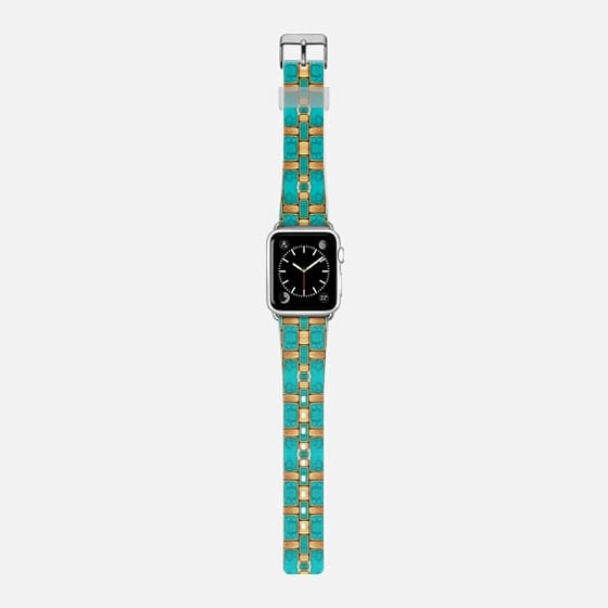 turquoise and gold - Saffiano Leather Watch Band