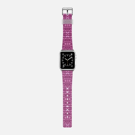 pink sequin watch band - Saffiano Leather Watch Band