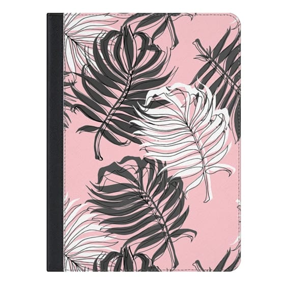 9.7-inch iPad Covers - Grey Palm Leaves on Pink - iPad