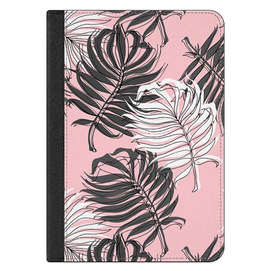 iPad Mini 4 Covers - Grey Palm Leaves on Pink - iPad