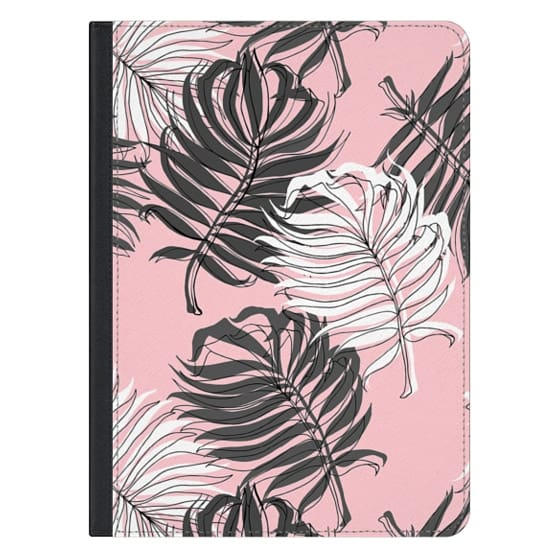 iPad Pro 12.9 Covers - Grey Palm Leaves on Pink - iPad