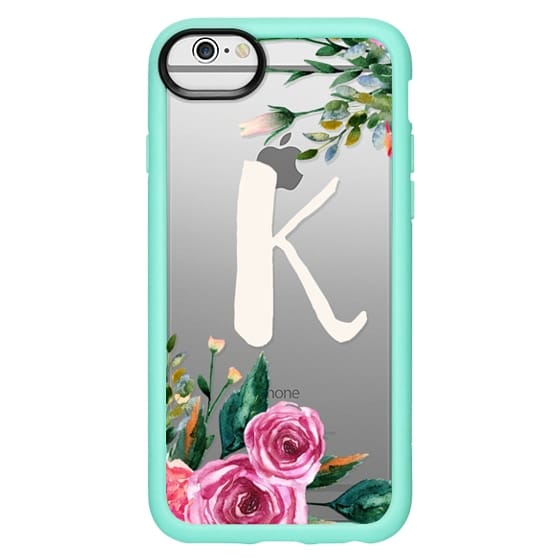 brand new a3d3b aa40f Classic Grip iPhone 6 Case - Clear monogram case, floral initial, letter K