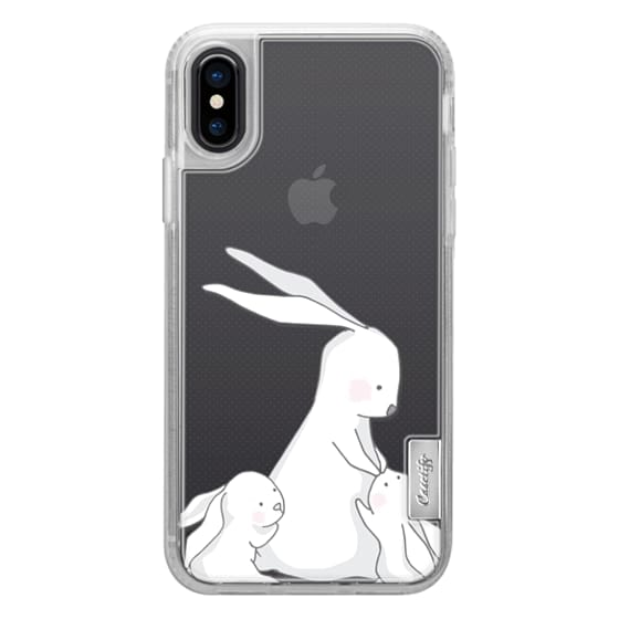 iPhone 7 Plus Cases - Mommy bunny with two littles clear case