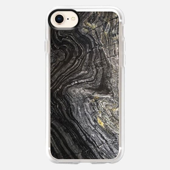 Dark stone black marble texture - Snap Case