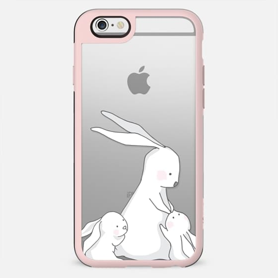 Mommy bunny with two littles clear case