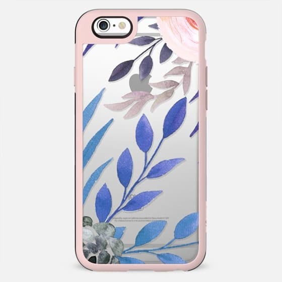 bold floral blue and pink clear case - New Standard Case