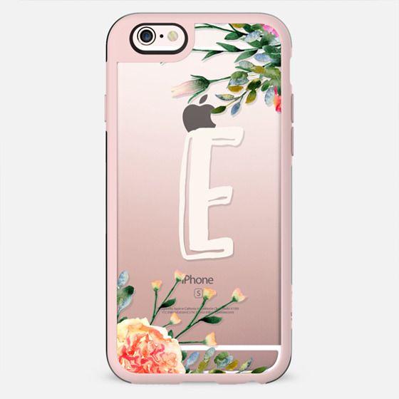 Clear  monogram case, floral initial, letter E