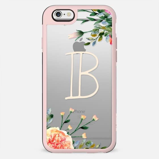 Letter B monogram floral clear case, initial modern