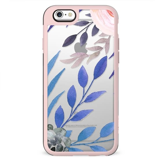 bold floral blue and pink clear case