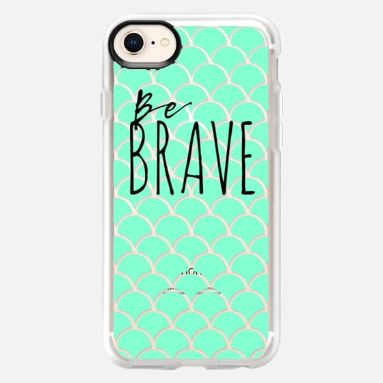 Be Brave + Teal, Blue Fish Scales - Snap Case