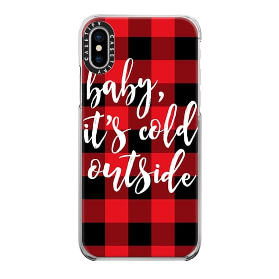 iPhone X Cases - Baby, It's Cold Outside + Red and Black Buffalo Plaid