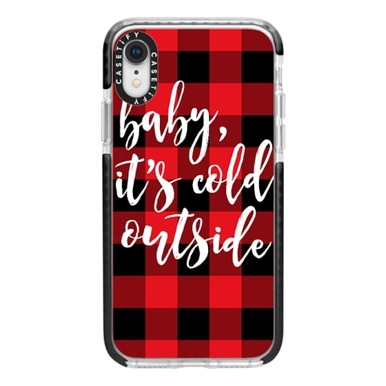 iPhone XR Cases - Baby, It's Cold Outside + Red and Black Buffalo Plaid