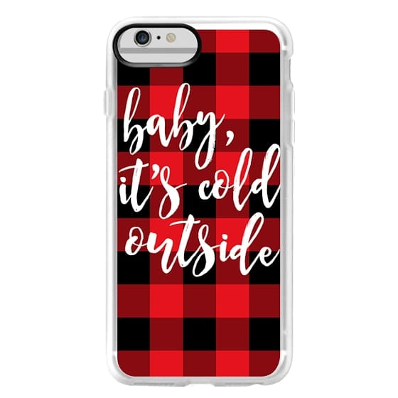 iPhone 6 Plus Cases - Baby, It's Cold Outside + Red and Black Buffalo Plaid