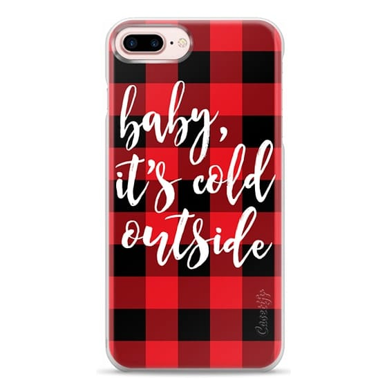 iPhone 7 Plus Cases - Baby, It's Cold Outside + Red and Black Buffalo Plaid