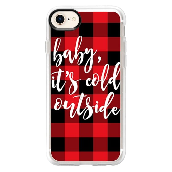 iPhone 8 Cases - Baby, It's Cold Outside + Red and Black Buffalo Plaid