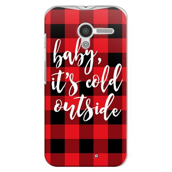 Moto X Cases - Baby, It's Cold Outside + Red and Black Buffalo Plaid