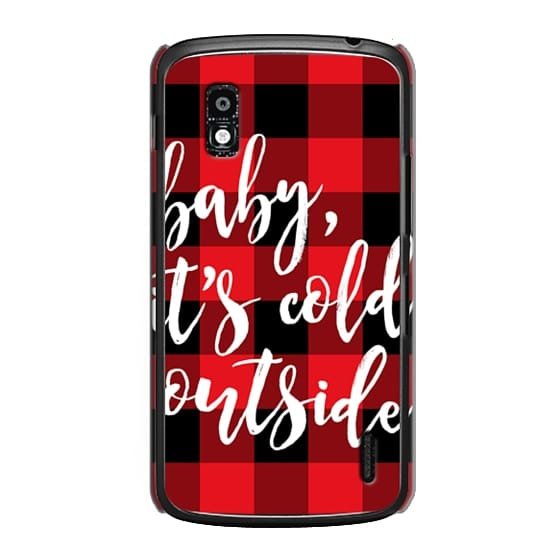 Nexus 4 Cases - Baby, It's Cold Outside + Red and Black Buffalo Plaid