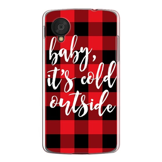 Nexus 5 Cases - Baby, It's Cold Outside + Red and Black Buffalo Plaid