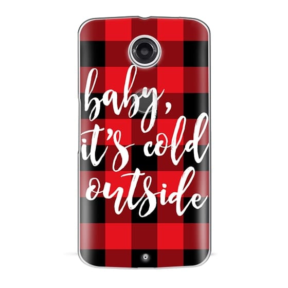 Nexus 6 Cases - Baby, It's Cold Outside + Red and Black Buffalo Plaid
