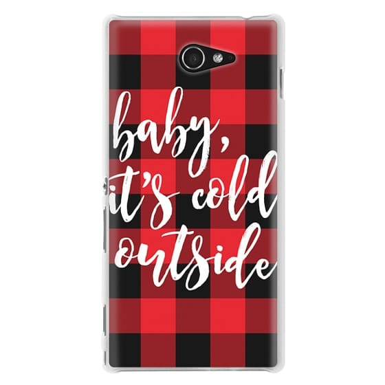 Sony M2 Cases - Baby, It's Cold Outside + Red and Black Buffalo Plaid