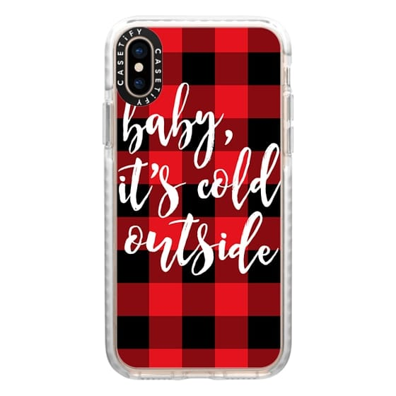 iPhone XS Cases - Baby, It's Cold Outside + Red and Black Buffalo Plaid