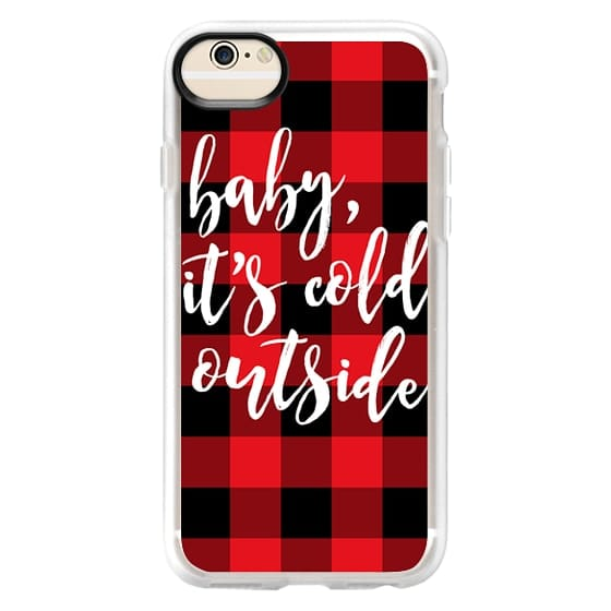 iPhone 6 Cases - Baby, It's Cold Outside + Red and Black Buffalo Plaid