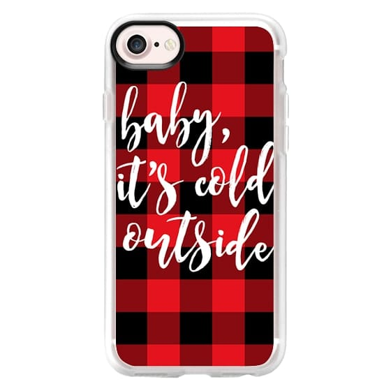 iPhone 7 Cases - Baby, It's Cold Outside + Red and Black Buffalo Plaid