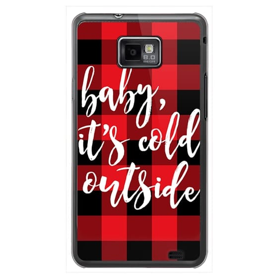 Samsung Galaxy S2 Cases - Baby, It's Cold Outside + Red and Black Buffalo Plaid