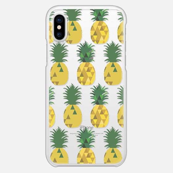 iPhone X Case - Transparent Pineapple Fruit Party