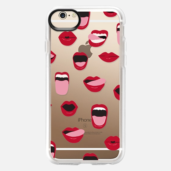 iPhone 6 Case - Valentines Sexy Lips and Kisses Transparent Loves Pink Miniature Version