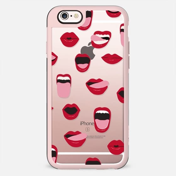 Valentines Sexy Lips and Kisses Transparent Loves Pink Miniature Version - เคส Classic Grip