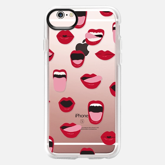 iPhone 6s Case - Valentines Sexy Lips and Kisses Transparent Loves Pink Miniature Version