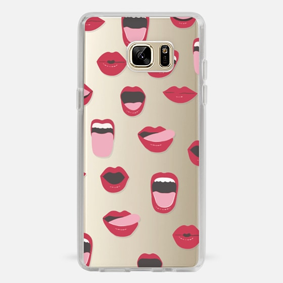 Galaxy Note 7 Capa - Valentines Sexy Lips and Kisses Transparent Loves Pink Miniature Version
