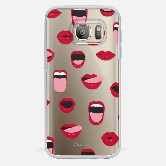 Galaxy S7 เคส - Valentines Sexy Lips and Kisses Transparent Loves Pink Miniature Version